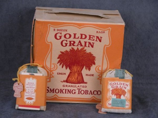 209: GOLDEN GRAIN SMOKING TOBACCO CLOTH BAGS FULL