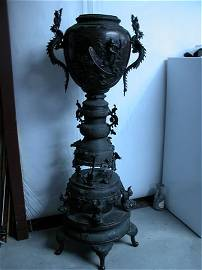 """244: BRONZE CHINESE TEMPLE PC 65"""" HIGH DRAGONS BIRDS 18"""