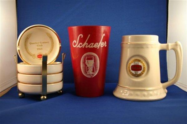 502: MISC SCHAEFER LOT - 1 MUG, 1 GLASS, 4 ASHTRAYS.