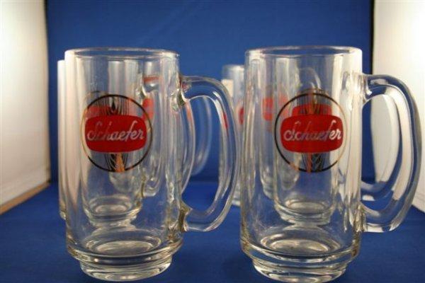 """503: 6 SCHAEFER GLASS MUGS. 5.5"""" TALL"""