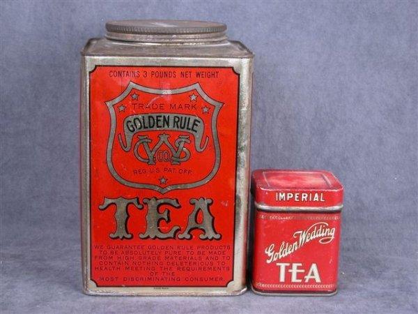 511: 2 TEA TINS 3 LB GOLDEN RULE 1/4 LB GOLDEN WEDDING