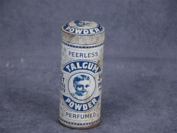 512: PEERLESS TALCUM POWDER TIN W/BABY ON FRONT & TOP