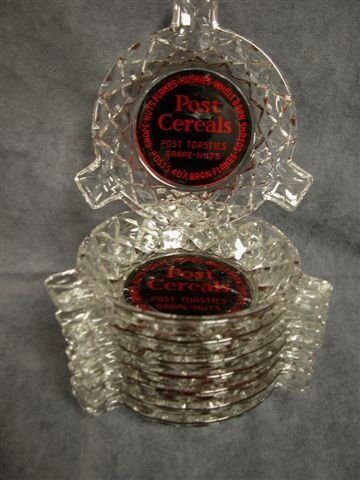 517: LOT OF 8 GLASS ASHTRAYS ADVERTISING POST CEREAL
