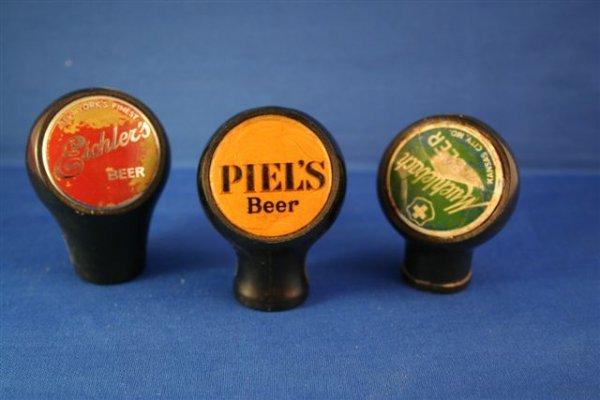 521: LOT OF 3 BEER BALL TAP KNOBS EICHLER'S, PIEL'S, MU