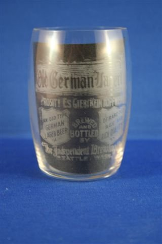 522: LOT OF 2 OLD GERMAN LAGER ETCHED GLASSES
