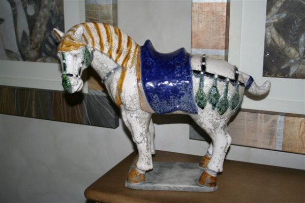 15: Ming Dynasty Style Ceramic crackled white horse