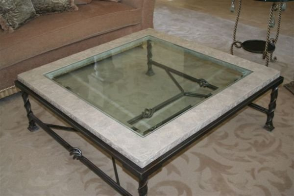 129: 4x4 Stone/Glass Coffee Table wrought iron base Roe