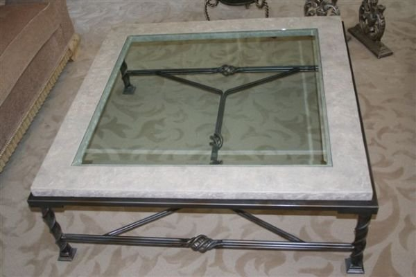 129: 4x4 Stone/Glass Coffee Table wrought iron base Roe - 2