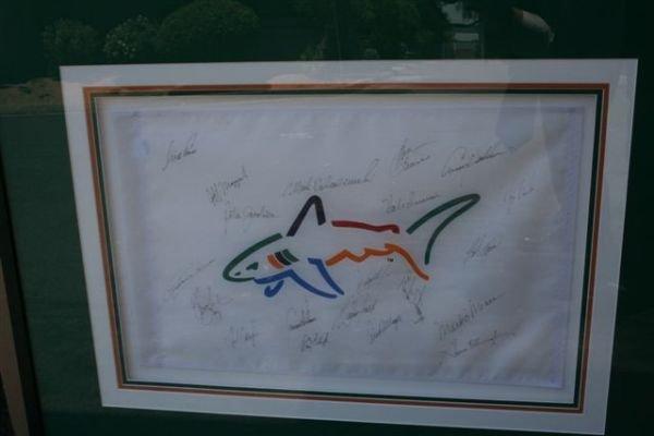 64C: Autographed 1993 FrnklnTmpltn Golf Shark Shtr Flag