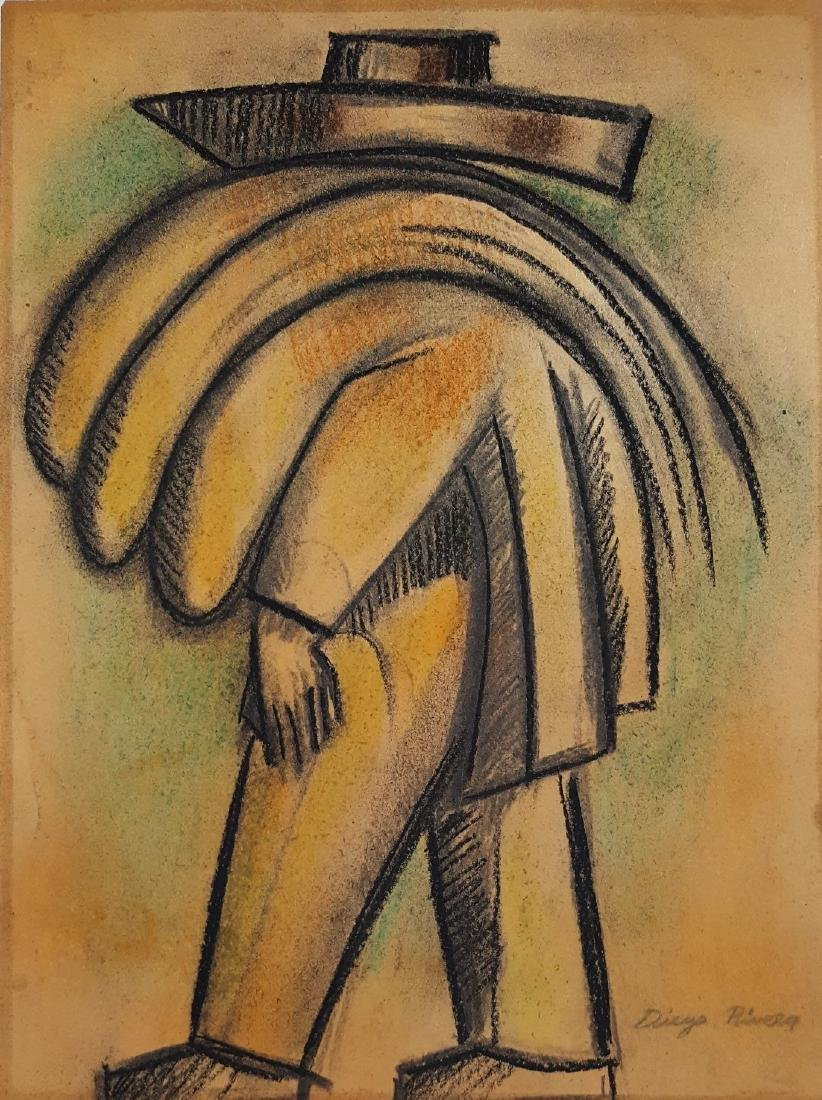 Diego Rivera pastel and charcoal drawing