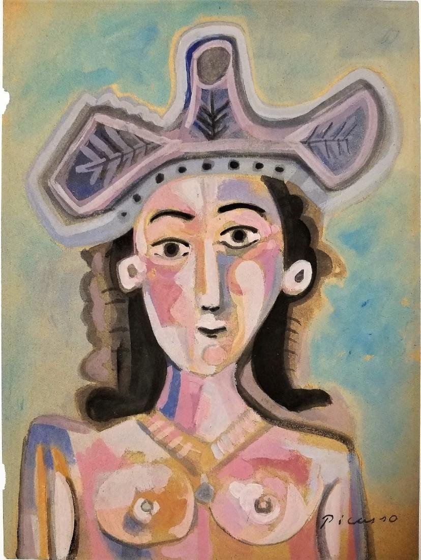 (Att) .Watercolor on Paper - Signed Picasso