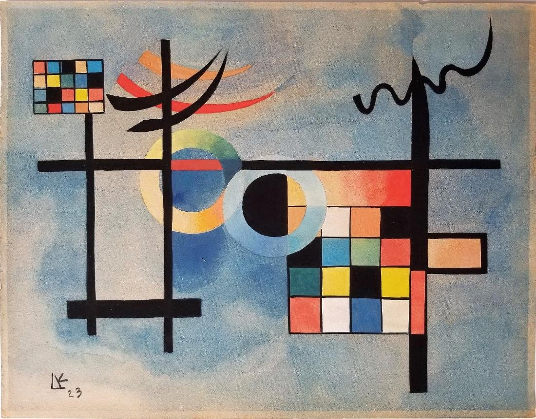 Gouache on Paper attritubed to wassily Kandinsky