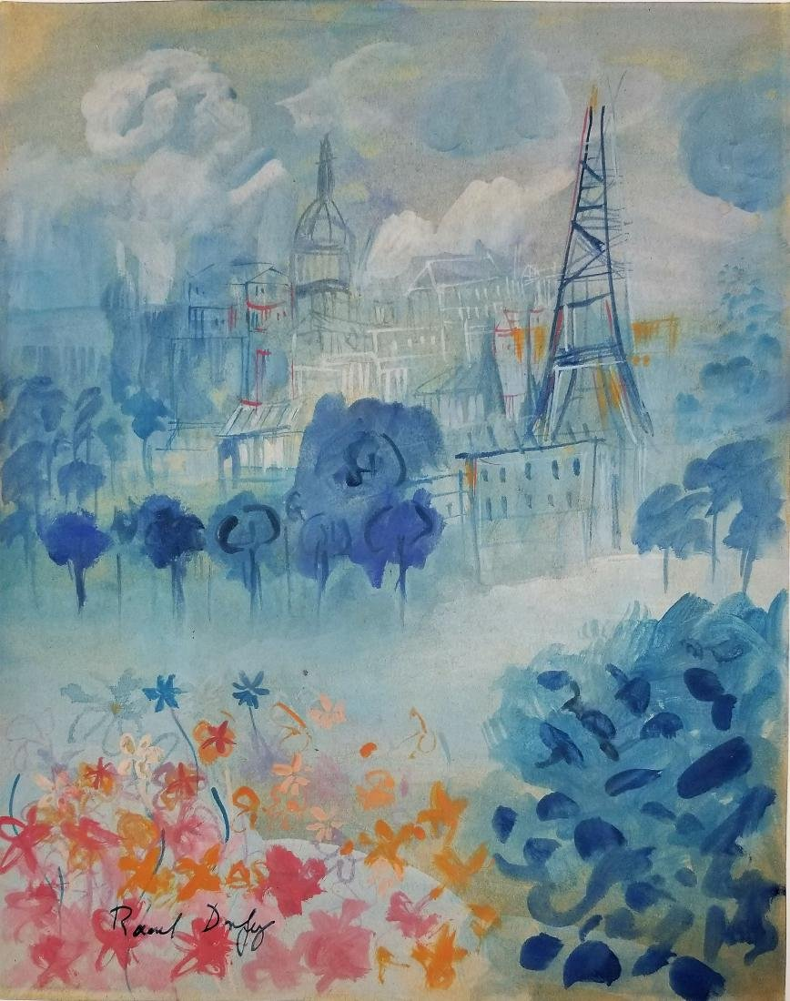 Watercolor on paper attributed to Raoul Dufy
