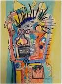 (Att.)JEAN MICHEL BASQUIAT mixed media on paper