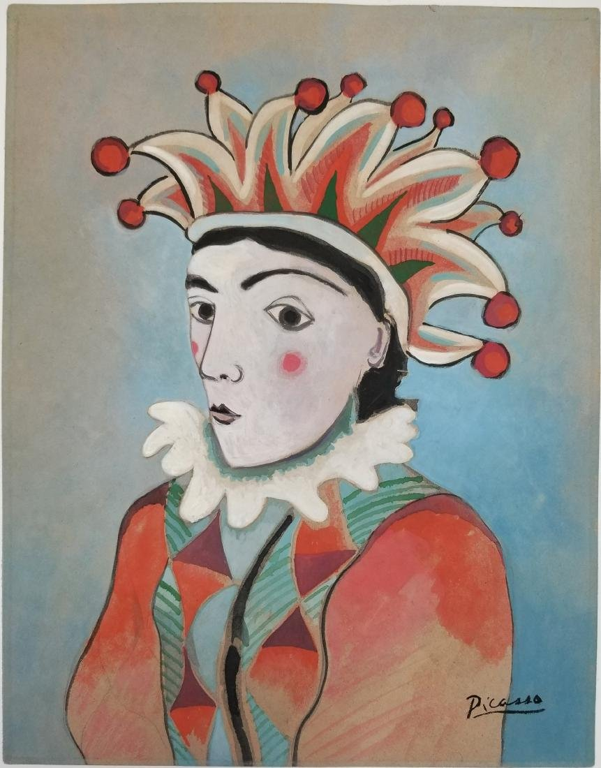 Watercolor on Paper - Signed Picasso