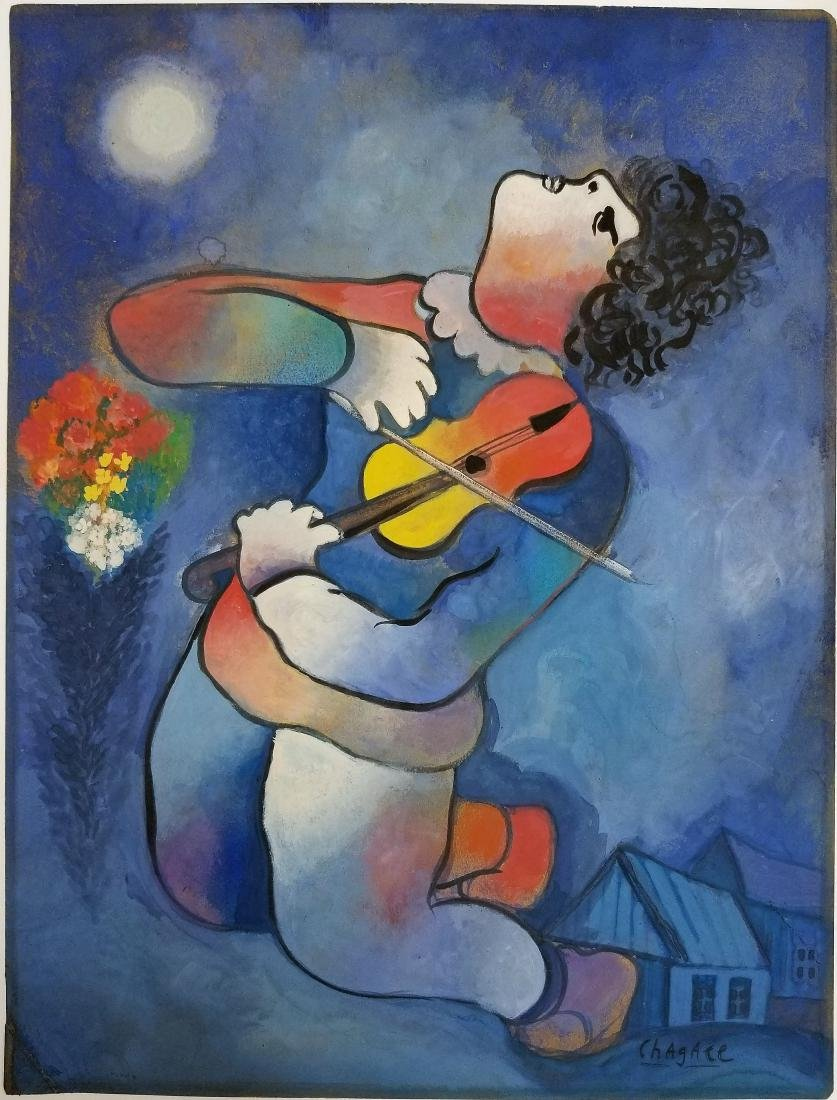 Attributed to Marc Chagall - Gouache on paper