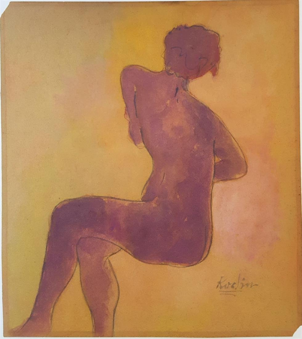 Auguste Rodin watercolor on paper