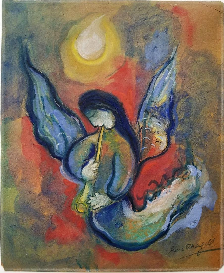 Mixed media on paper attributed to Chagall