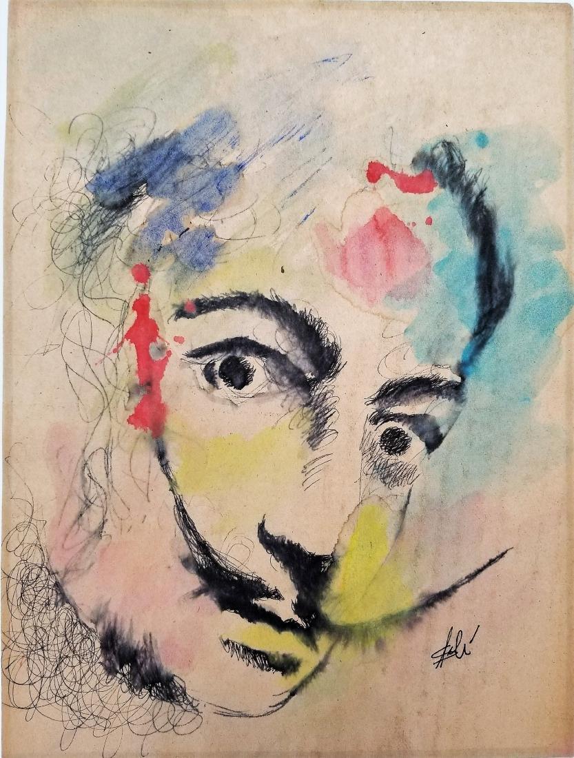 Salvador Dali  water color  on paper (Att.)