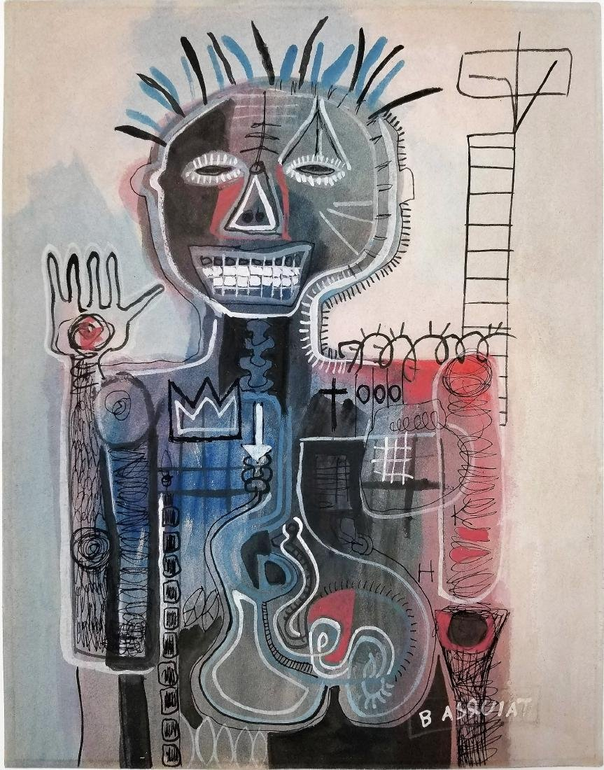 Mixed media on paper. Basquiat