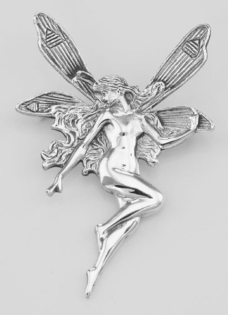 Large Art Nouveau Style Fairy Pin - Sterling Silver