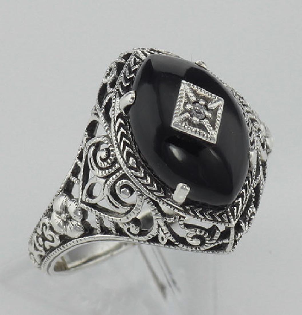 Art Deco Style Black Oynx Ring with Diamond Center - St