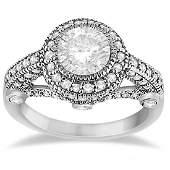 Vintage Diamond Halo Art Deco Engagement Ring 14k White