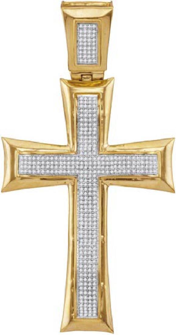 10kt Yellow Gold Womens Round Diamond Flared Cross Char