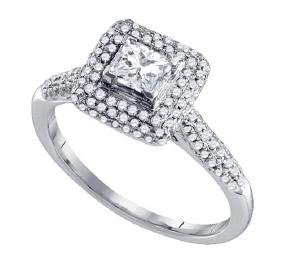 14kt White Gold Womens Princess Diamond Solitaire Halo