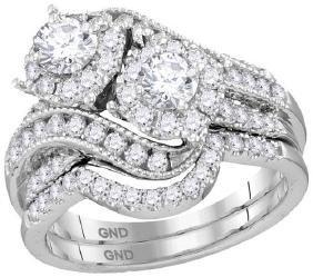 14kt White Gold Womens Round Diamond 2-stone Halo Brida