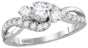 14kt White Gold Womens Round Diamond 3-stone Bridal Wed
