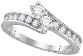 14kt White Gold Womens Round Diamond 2-stone Egl Certif