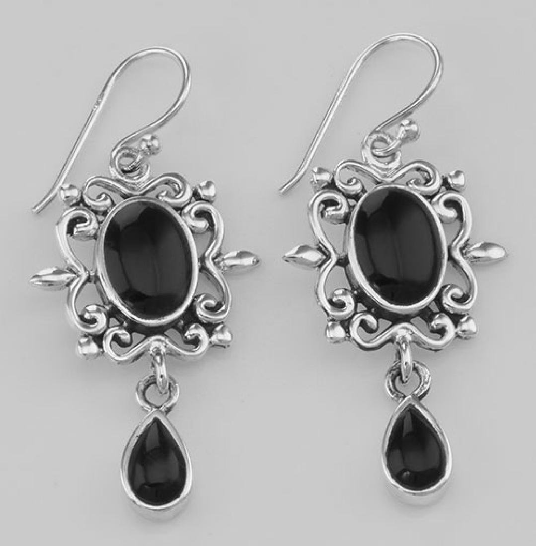 Beautiful Antique Style Black Onyx Dangle Earrings - St