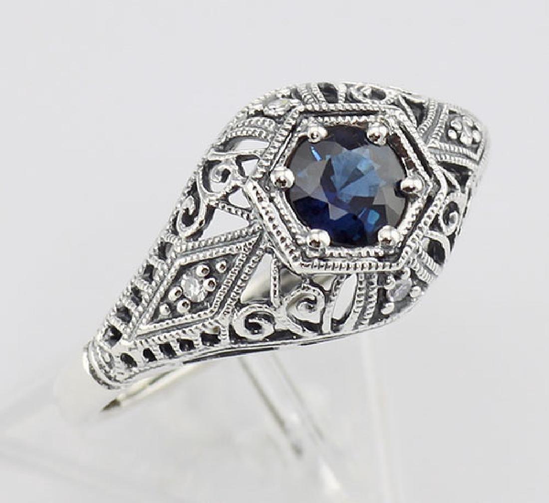 Art Deco Style Sapphire Filigree Ring w/ 4 Diamonds - S