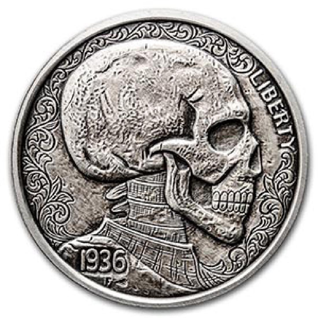 1 oz Silver Antique Round Hobo Nickel Replica (Skulls &