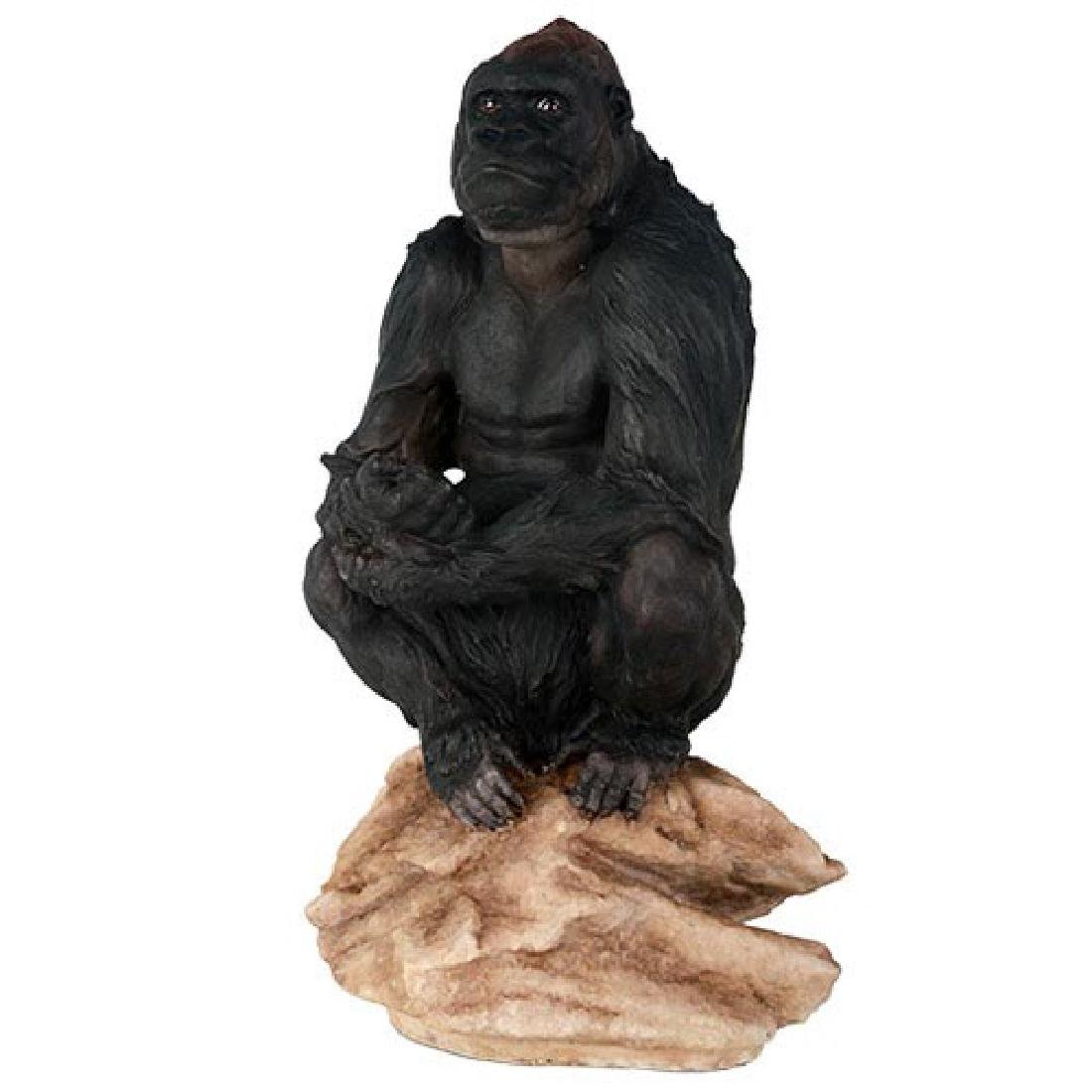 """HAND PAINTED COLD CAST RESIN GORILLA 7 1/2"""" x 6"""" x 13"""""""