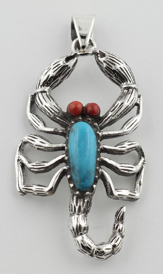 Scorpion Pendant Turquoise / Carnelian Sterling Silver