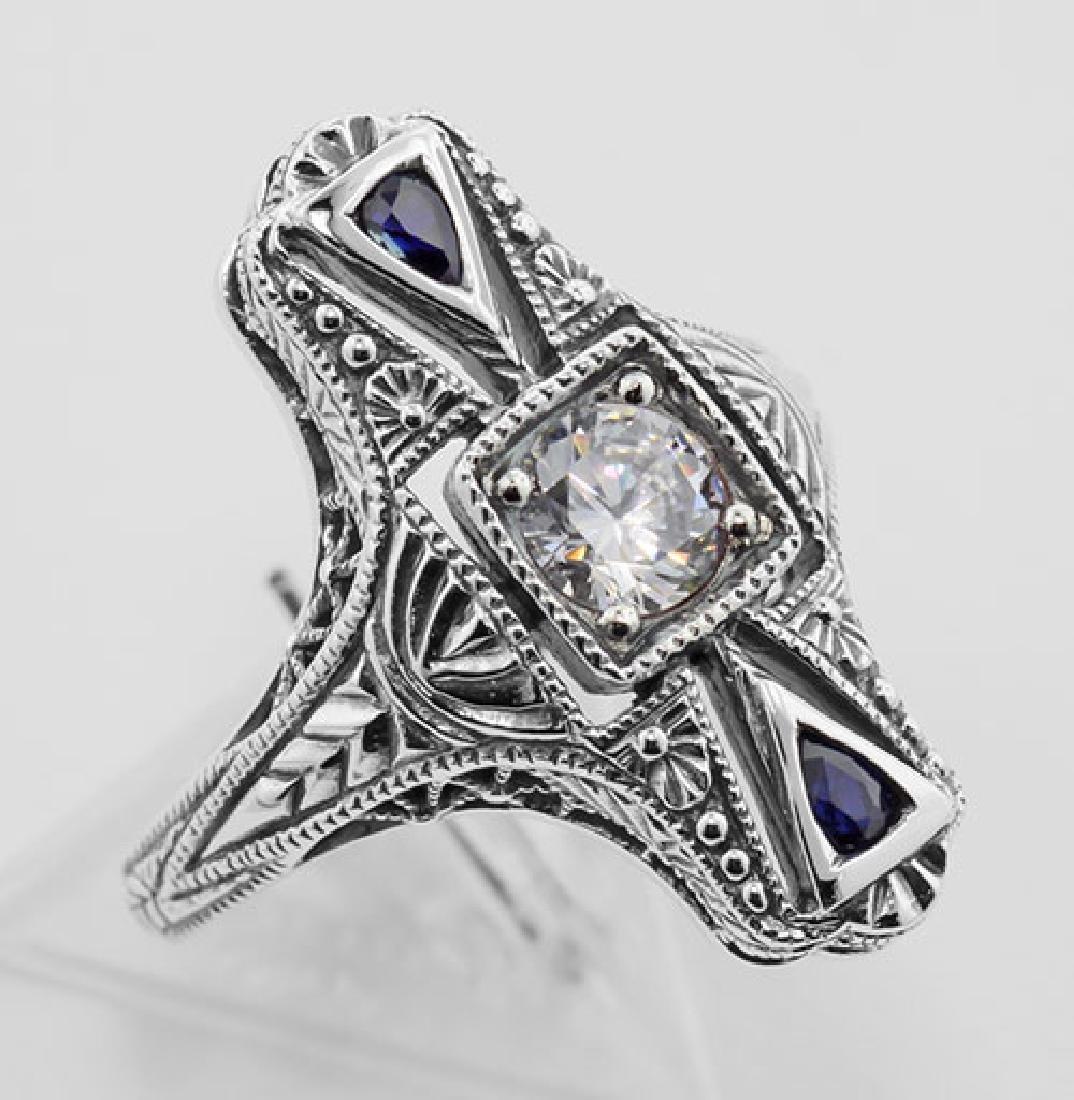 Art Deco CZ / Sapphire Filigree Ring - Sterling Silver