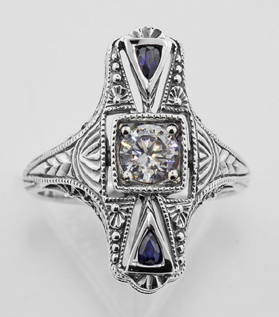 Art Deco CZ / Sapphire Filigree Ring - Sterling Silver - 2