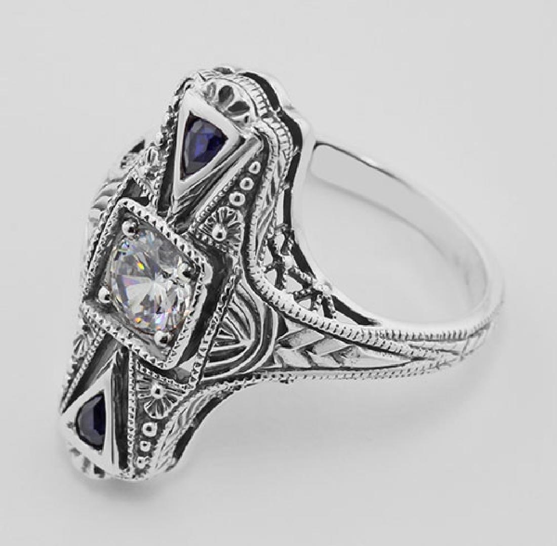 Art Deco CZ / Sapphire Filigree Ring - Sterling Silver - 3