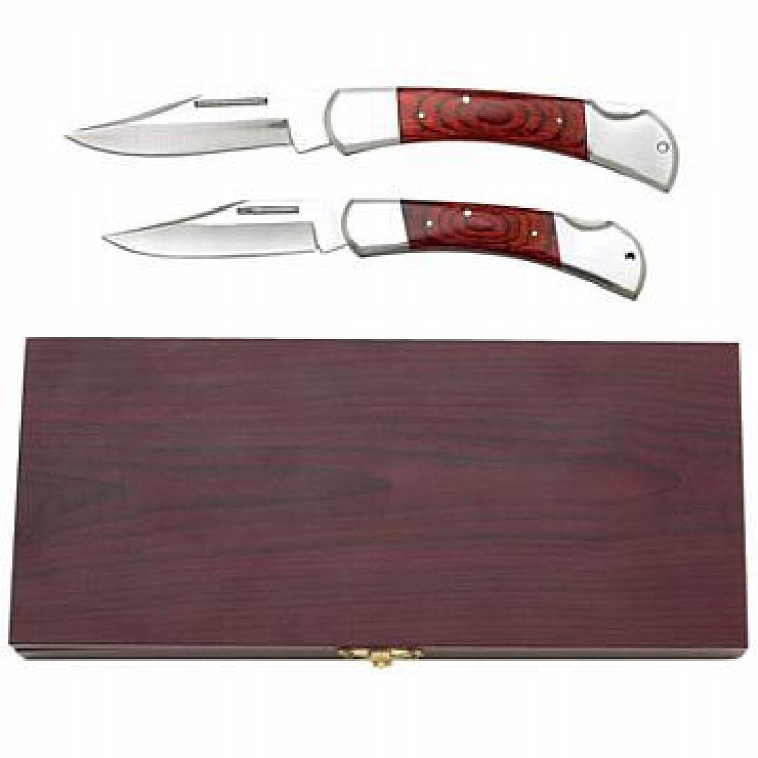 Maxam 2pc Lockback Knife Set in Wood Box