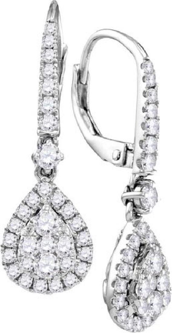 14kt White Gold Womens Round Diamond Teardrop Cluster D