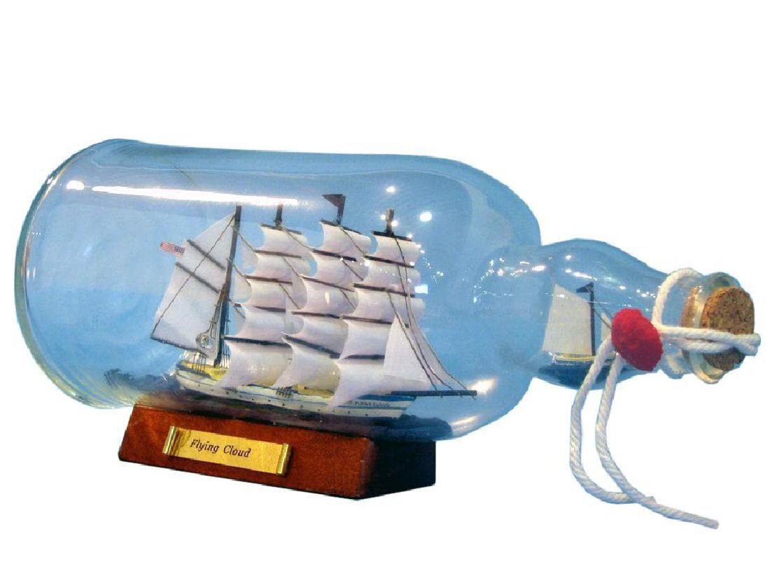 """Nautical Blue Flying Cloud Ship in a Bottle 11"""" on Wood"""