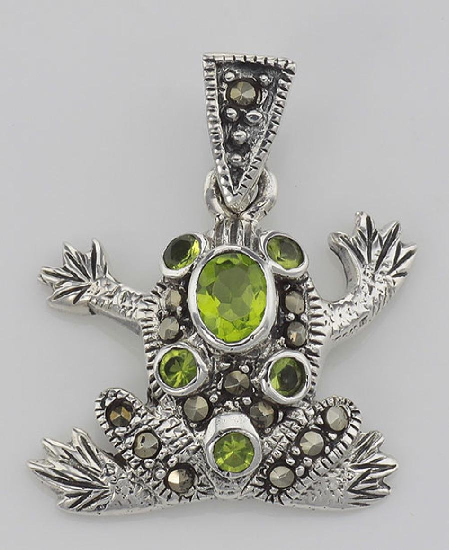 Cute Green CZ and Marcasite Frog Pendant - Sterling Sil