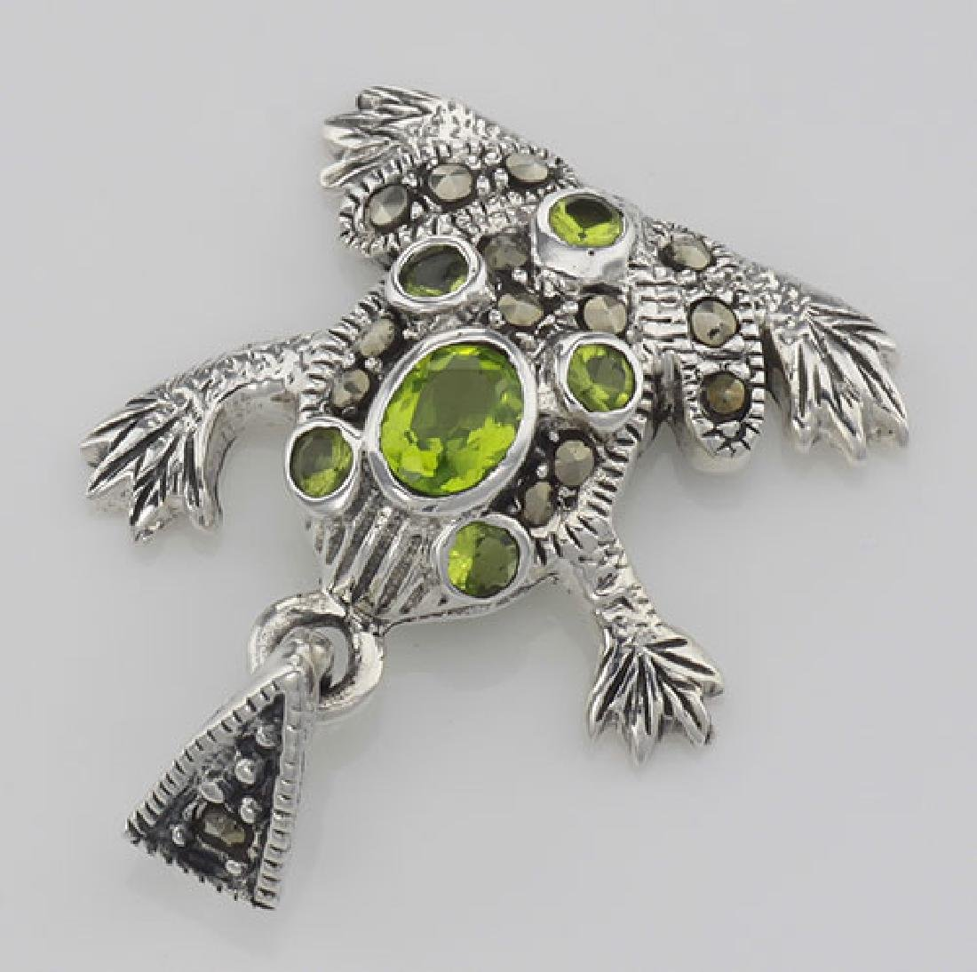 Cute Green CZ and Marcasite Frog Pendant - Sterling Sil - 2
