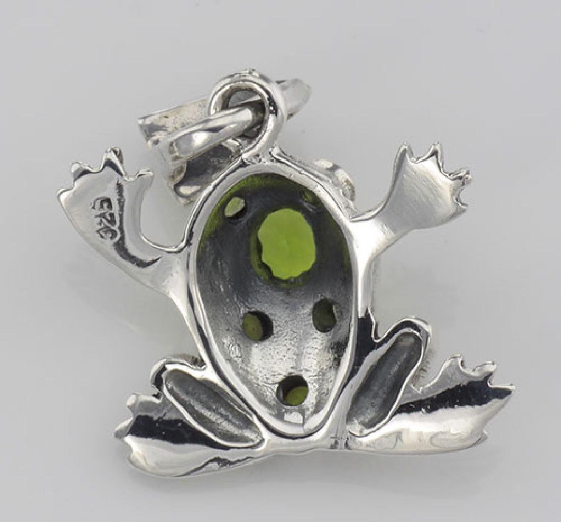 Cute Green CZ and Marcasite Frog Pendant - Sterling Sil - 3