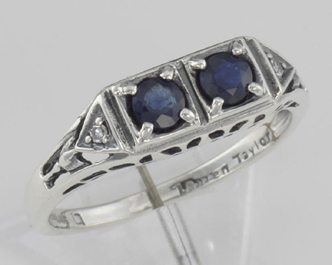 Art Deco Style Sapphire Filigree Ring w/ 2 Diamonds - S