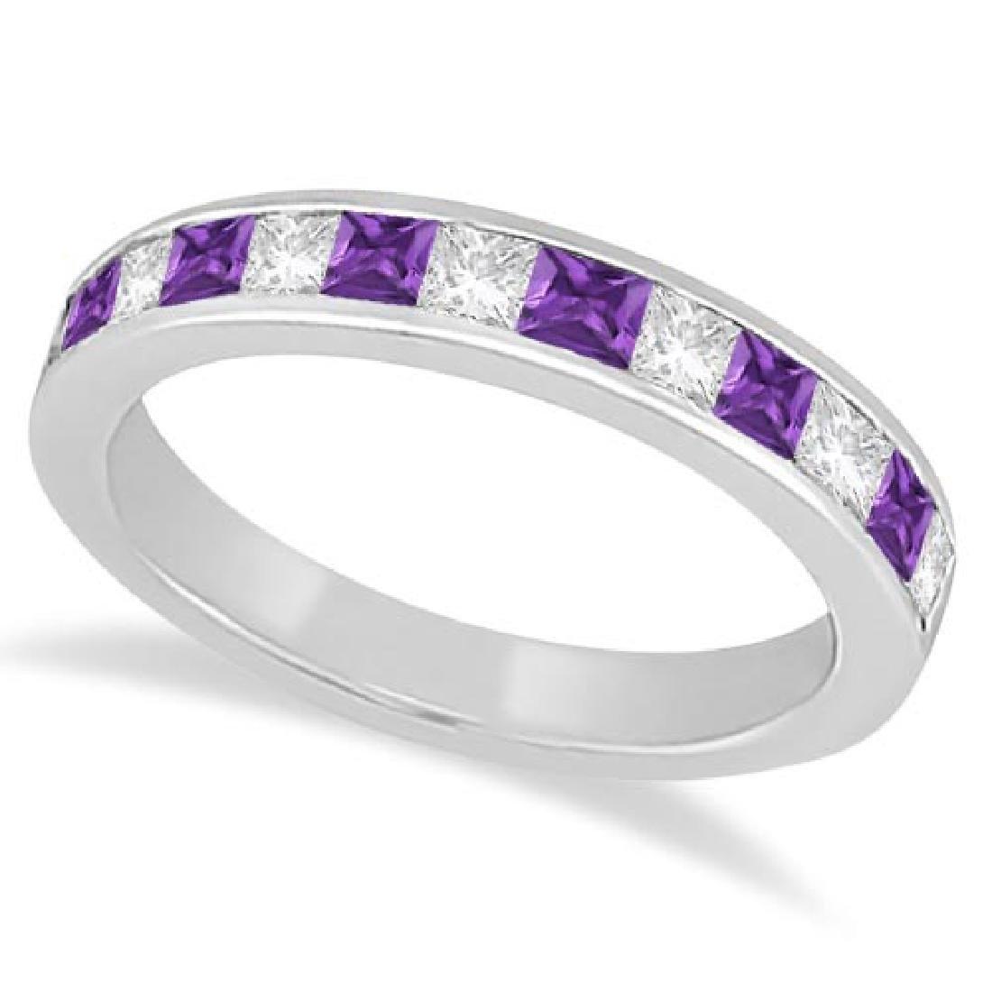Channel Amethyst and Diamond Wedding Ring 14k White Gol