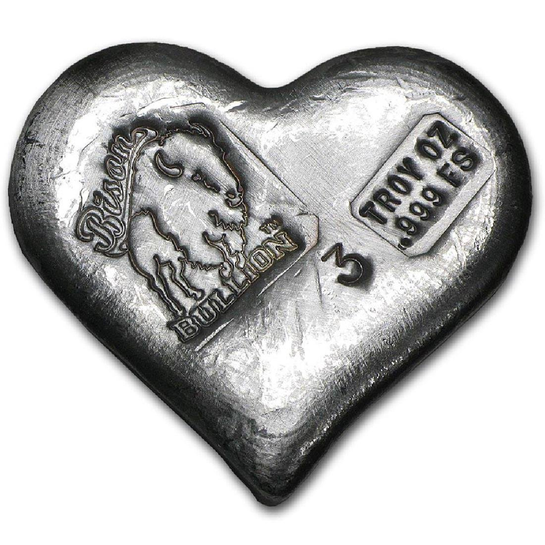 3 oz Silver Heart - Bison Bullion
