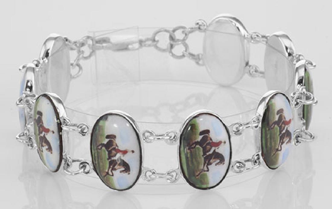 Horse / Rider Porcelain Top Bracelet - Dressage Sterlin